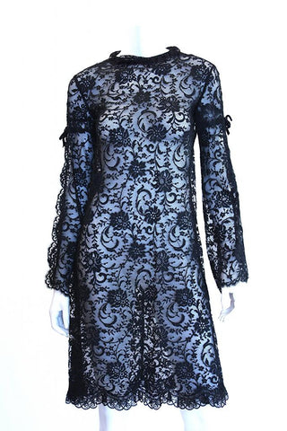1960s Black Sheer Lace Dress