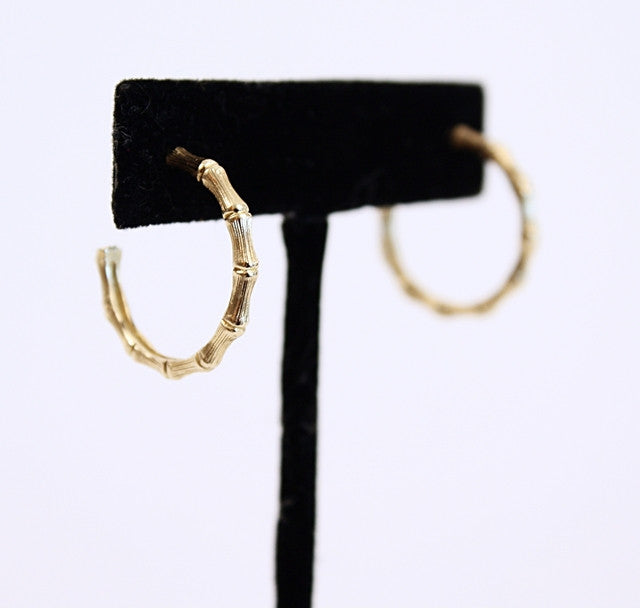 14K Gold Bamboo Hoops Earrings