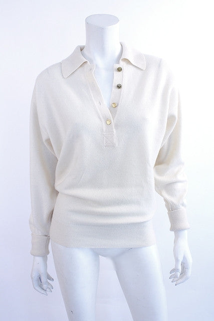 Vintage Chanel White Cashmere Sweater