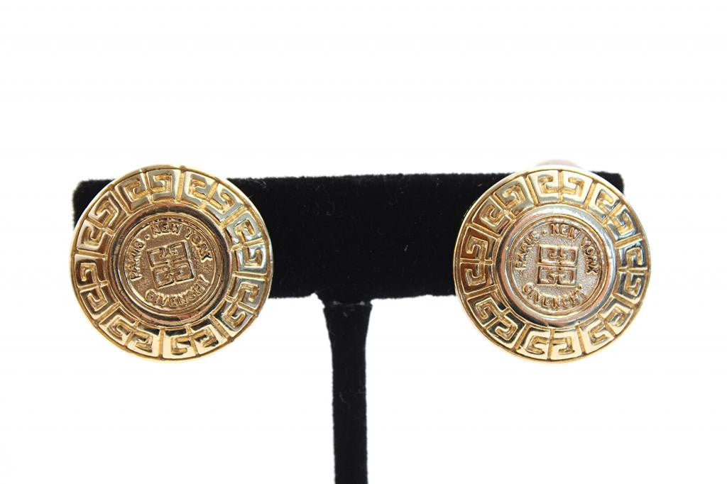 Vintage Givenchy Medallion Logo Earrings