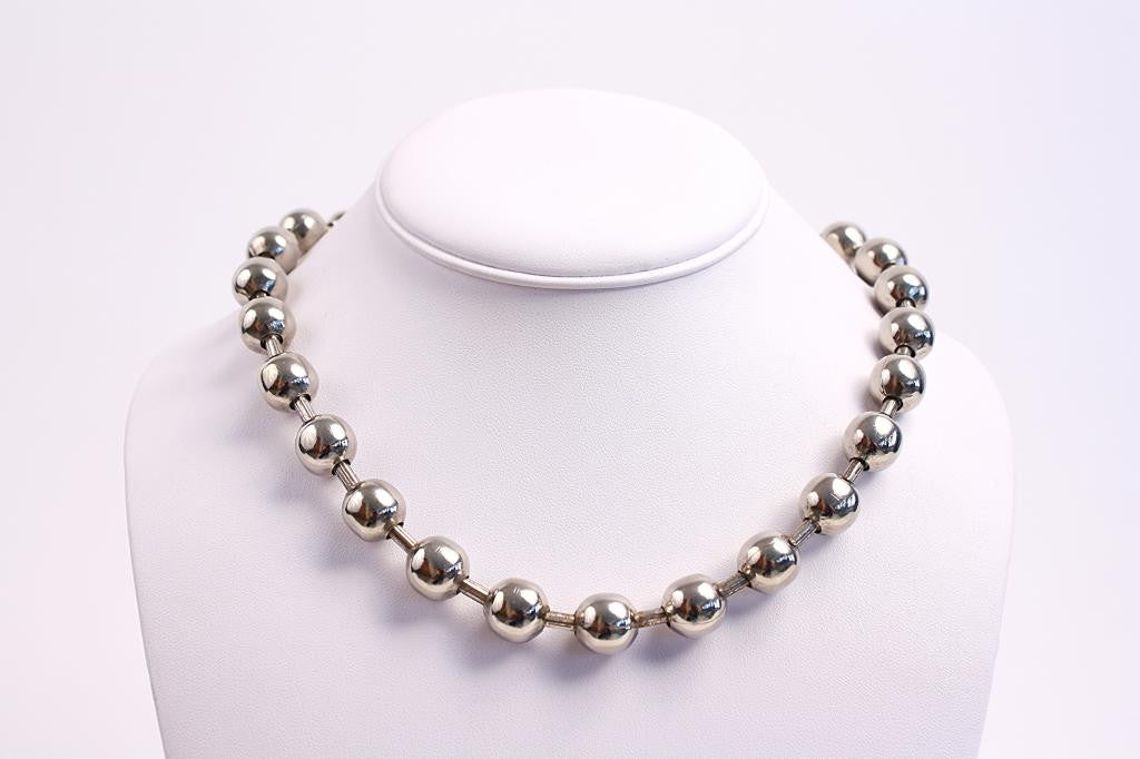 Vintage Silver Ball & Chain Necklace