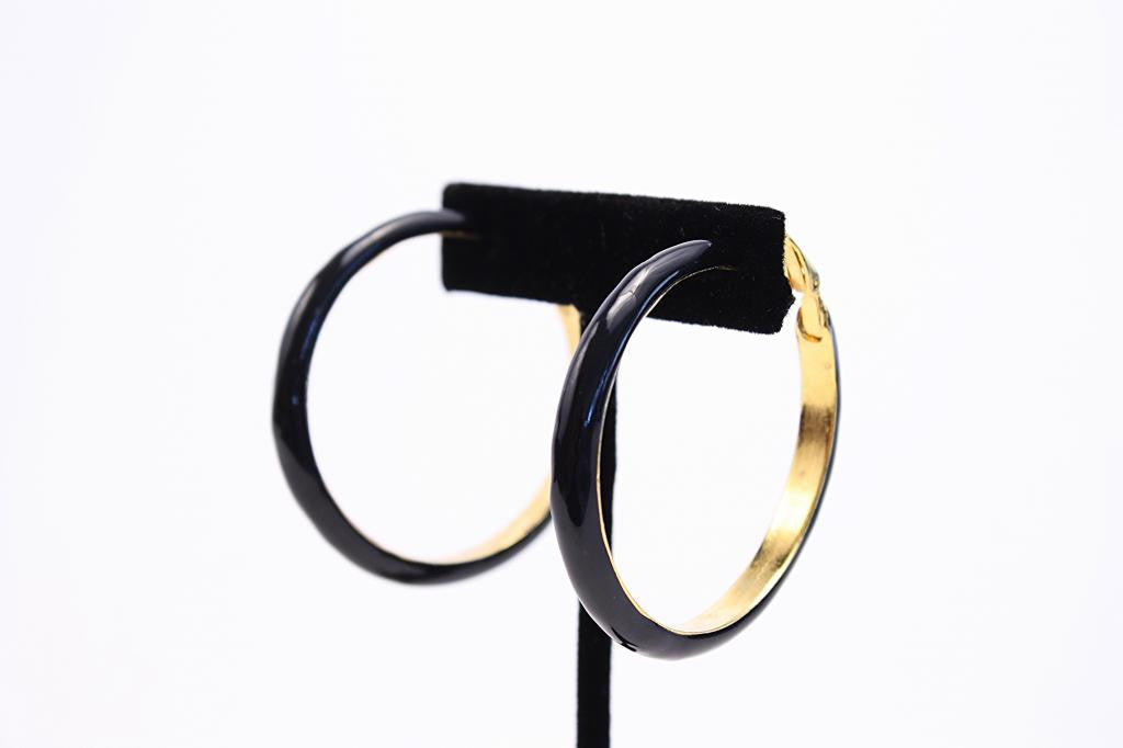 Vintage KENNETH JAY LANE Black Hoop Earrings