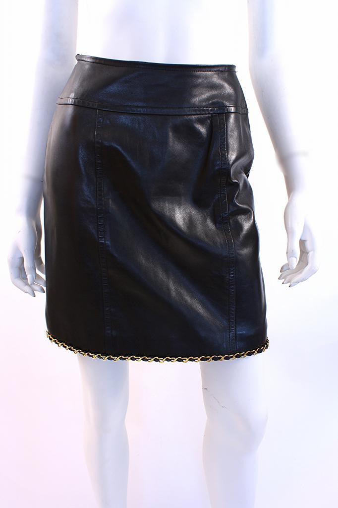 Rare Vintage Chanel Leather Skirt with Gold Chain