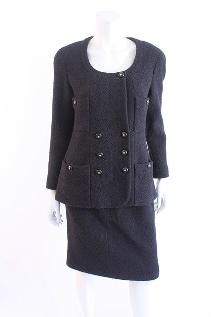 Vintage Chanel black boucle jacket skirt suit