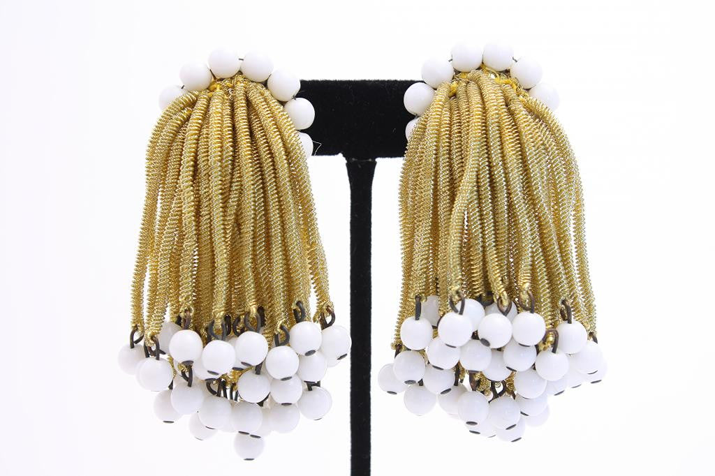 Vintage 60's Gold Tassel Fringe Earrings