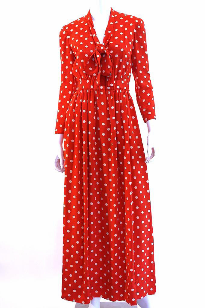 1970s NORMAN NORELL Silk Polka Dot Maxi Dress
