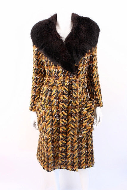 Vintage 70's Tweed Coat Fox Fur Collar