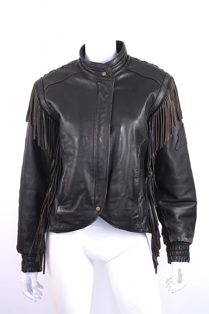 Vintage Harley Davidson Fringed Leather Jacket
