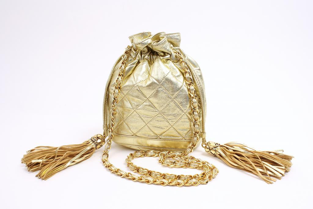 Authentic Vintage Chanel Gold Handbag