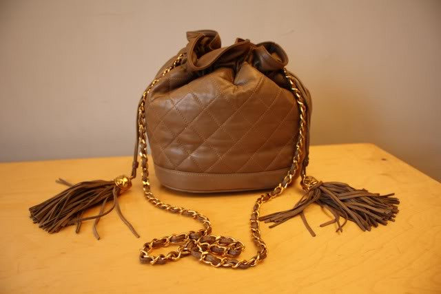 Vintage 1989-1991 CHANEL Taupe Quilted Leather Drawstring Bucket Bag with Chain Shoulder Strap & Double Tassels