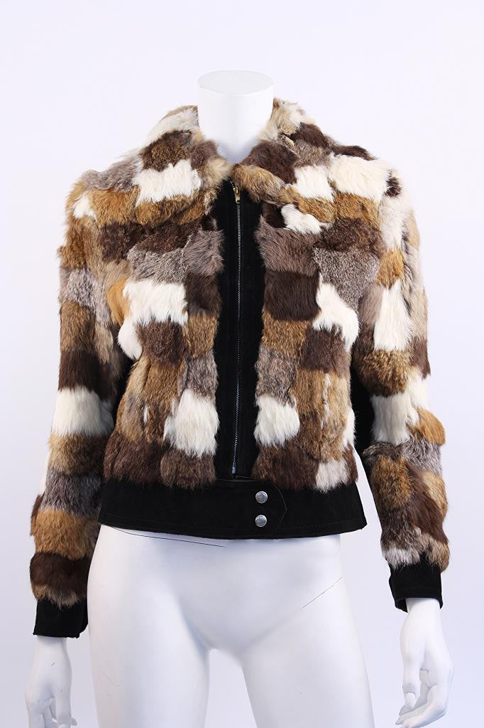 Vintage 70's Patchwork Rabbit Fur & Suede Jacket