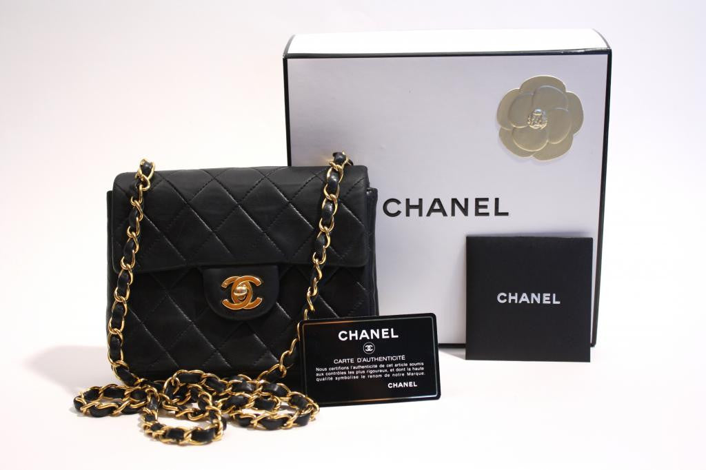 0c3d4c54394aa Vintage CHANEL Black Mini Flap Bag