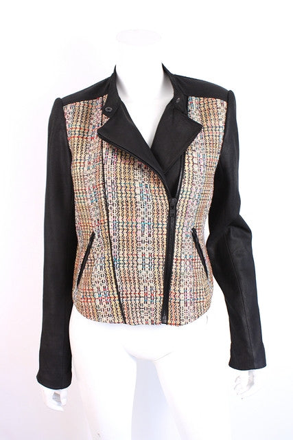Theory Leather & Tweed Jacket