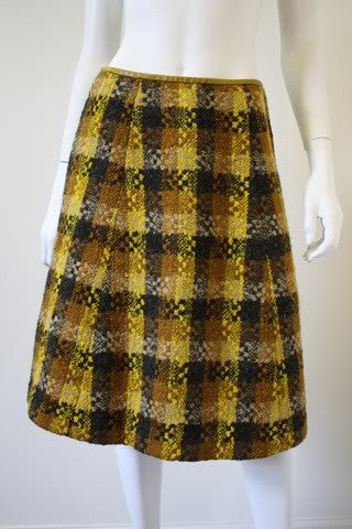 Vintage BONNIE CASHIN Plaid Boucle Skirt