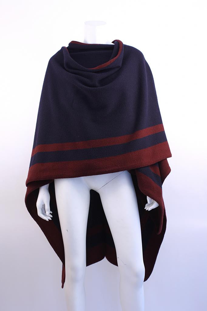 Vintage RALPH LAUREN Navy & Red Wool Shawl Poncho