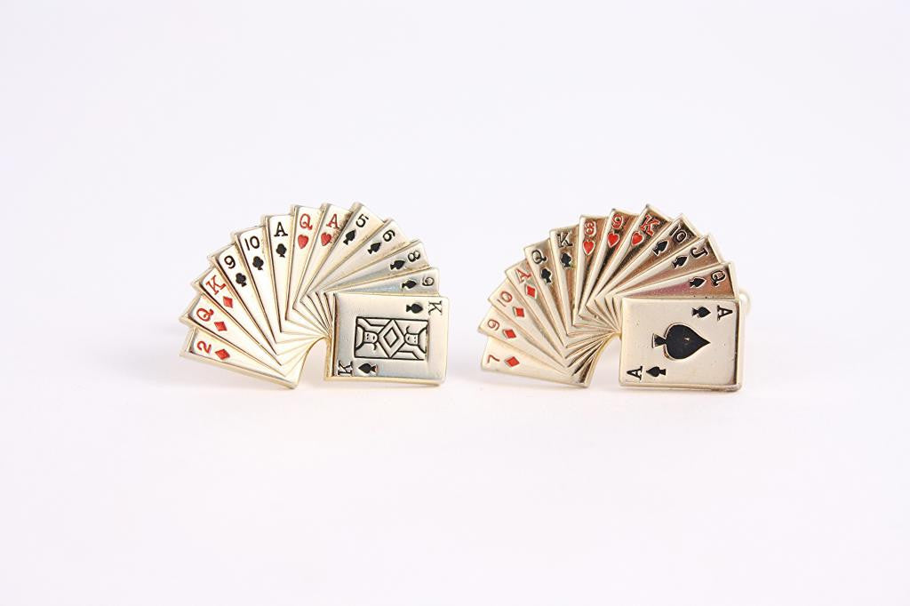 Vintage Gold Playing Card Cufflinks