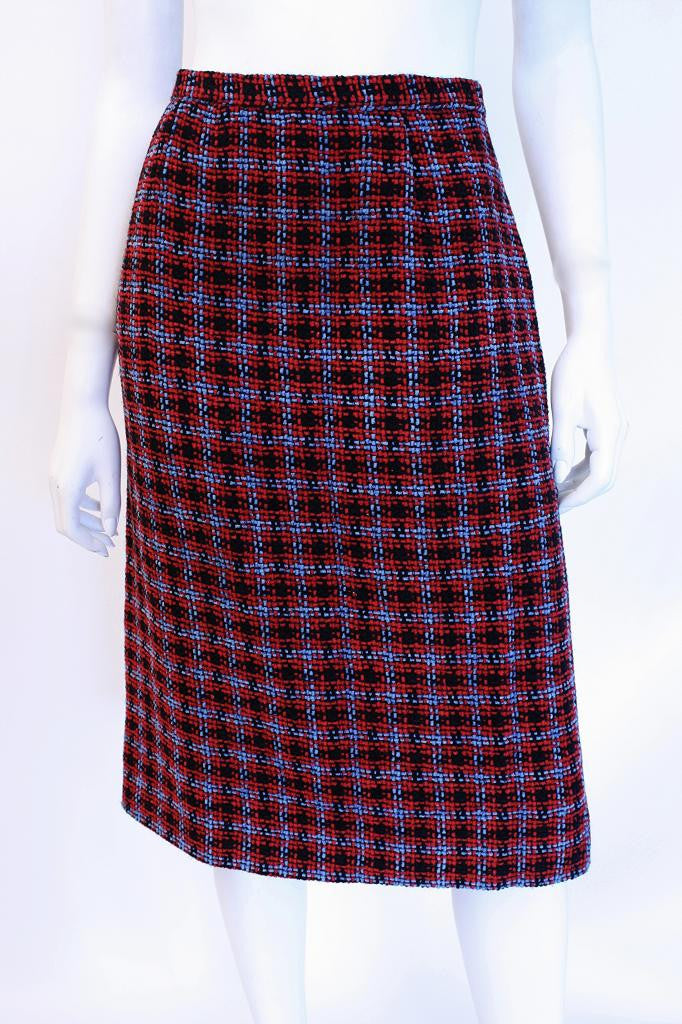 Vintage CHANEL Plaid Chenille Skirt