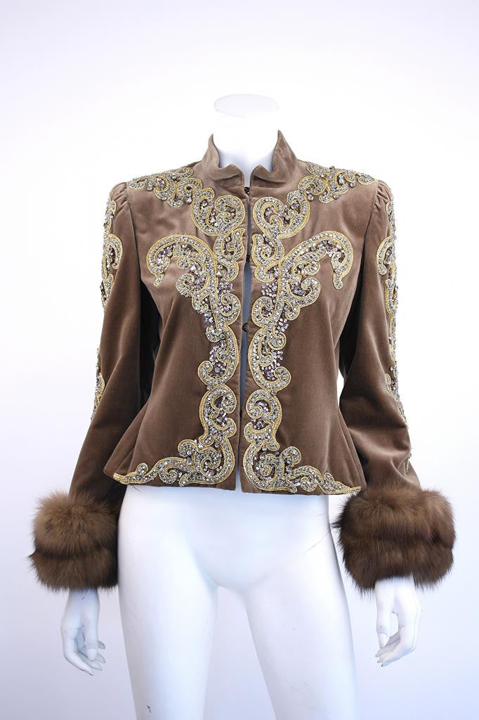 Vintage BILL BLASS Velvet Beaded Jacket with Sable Fur Cuffs