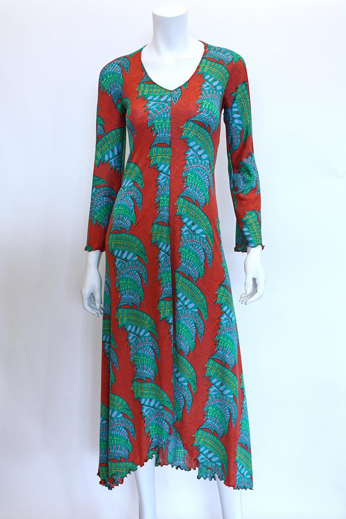 1970s STEPHEN BURROWS Tropical Palm Print Maxi Dress
