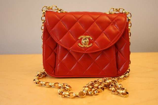 Vintage Early 80's CHANEL Red Quilted Leather Mini Double Flap Bag with Bijoux Chain Strap & Bijoux CC Clasp