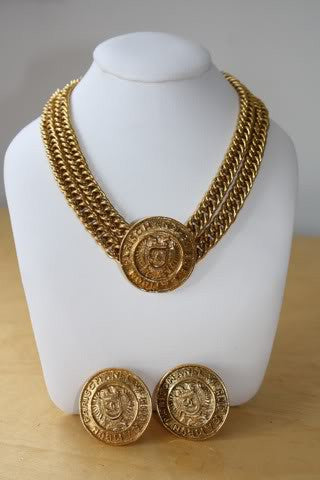 Vintage 80's CHANEL Gold Plated Medallion Crest Necklace with Matching Earrings