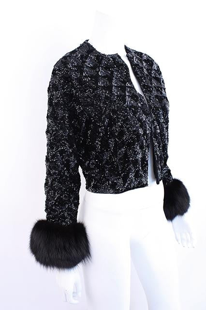 Vintage 60's Cashmere Sequin Sweater with Fox Fur