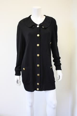 Vintage CHANEL Black Silk Cardigan Sweater Dress with 13 Hammered Gold Buttons & Ruffle Collar