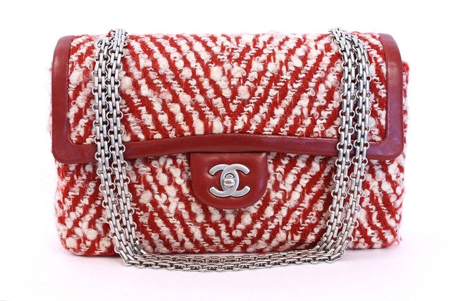 Rare Chanel red tweed flap bag