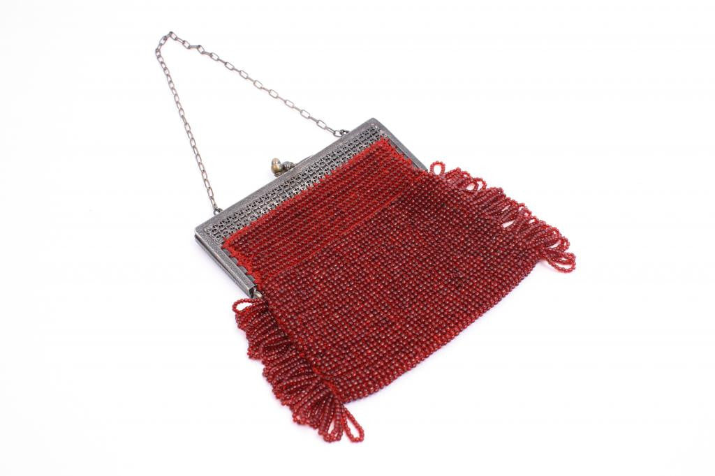 Vintage Deco Red Beaded Handbag