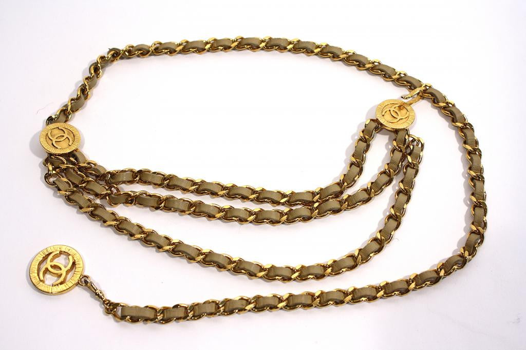 Vintage 1984 CHANEL Beige & Gold Chain Belt