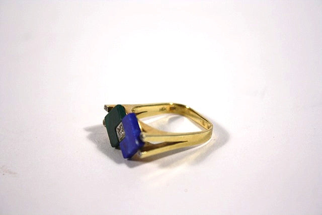 Vintage Gold Ring with Lapis, Diamond, and Malachite
