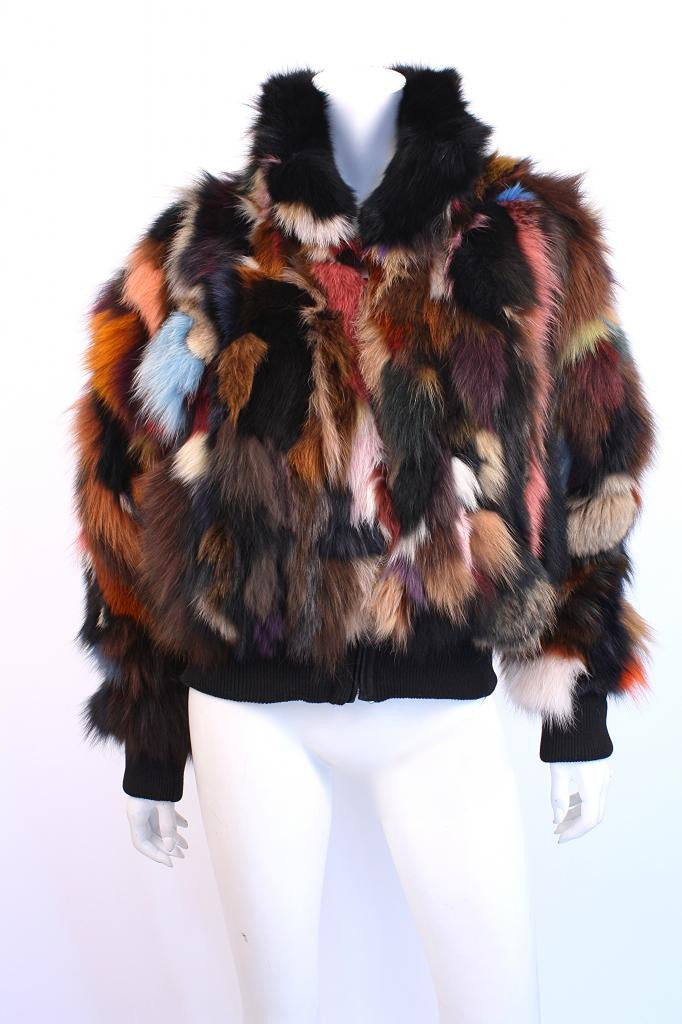Rainbow Fox Fur Jacket at Rice and Beans Vintage
