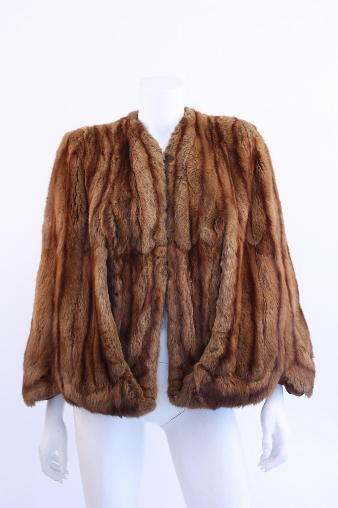Vintage 40's Brown Fur Cape Stole with Scalloped Hem