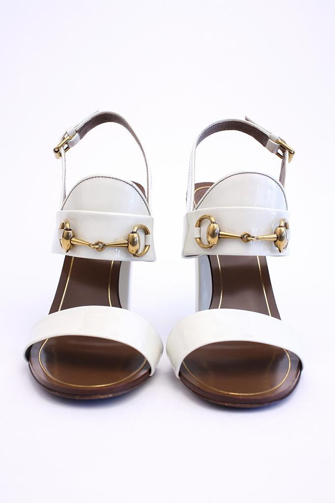 GUCCI White Patent Leather Horsebit Sandal Heels