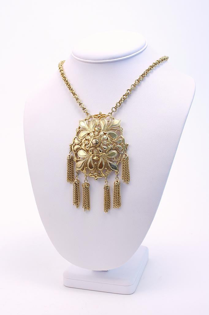 Vintage Gold Medallion Tassel Necklace