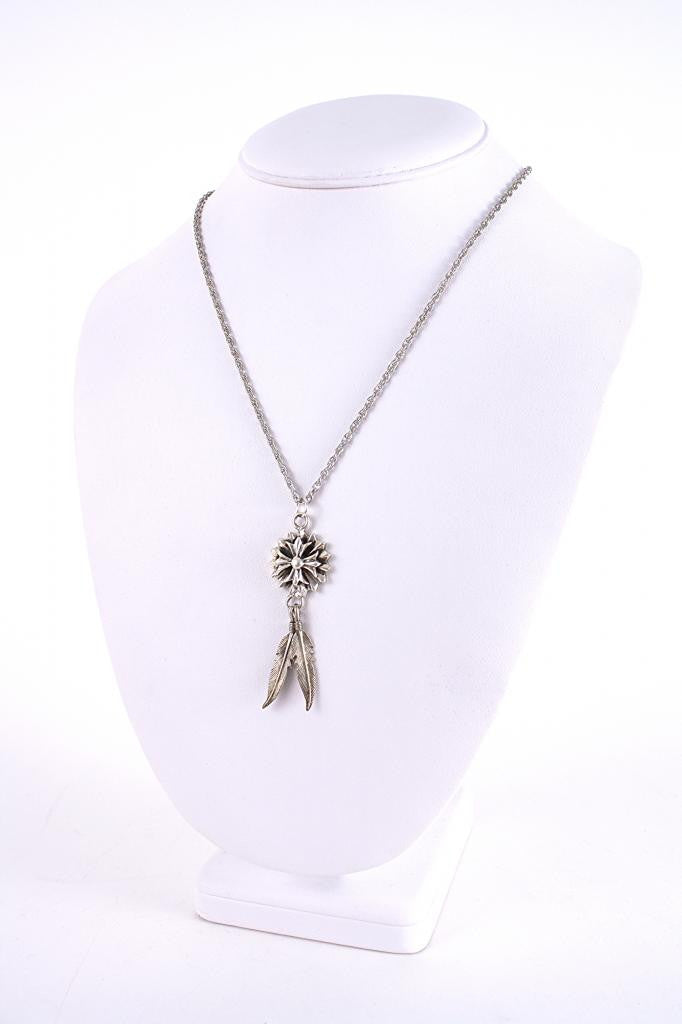 Vintage Sterling Silver Feather Mandala Necklace