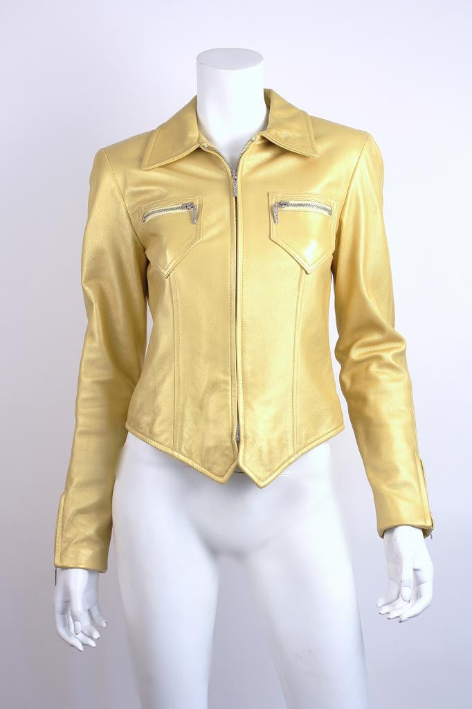 Oscar de la Renta Gold Leather Jacket