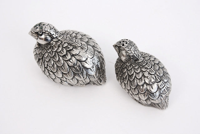 Vintage Gucci Pewter Quail Salt & Pepper Shakers