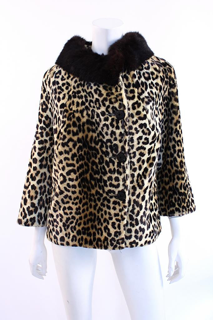 Vintage 60's Faux Leopard Fur Coat with Fur Collar