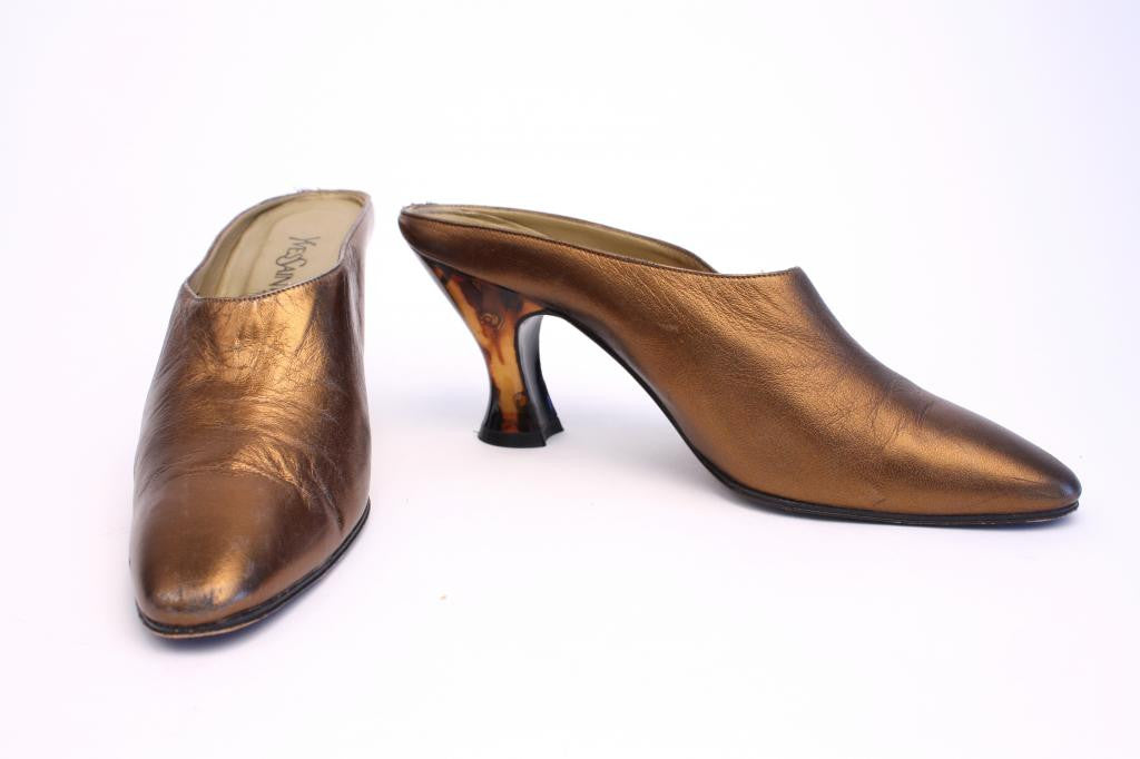 Vintage YVES SAINT LAURENT Bronze Mule Heels with Tortoise