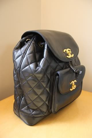 22afdc09ef5e Vintage CHANEL Large Black Quilted Lambskin Backpack with Chain Detail &  Double Gold CC Closures