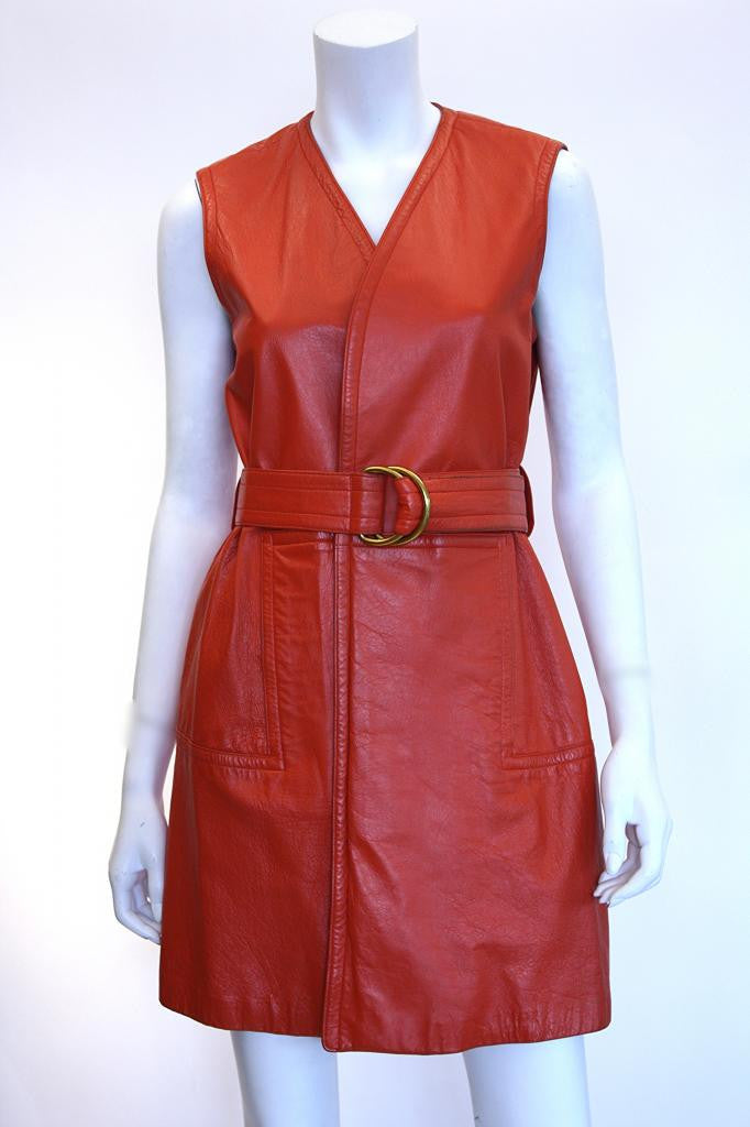 1970s BONNIE CASHIN Orange Leather Wrap Dress