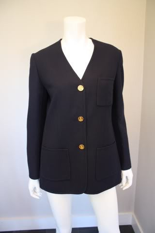 Vintage HERMES Navy Blue Wool Blazer Jacket with HERMES PARIS Anchor Buttons