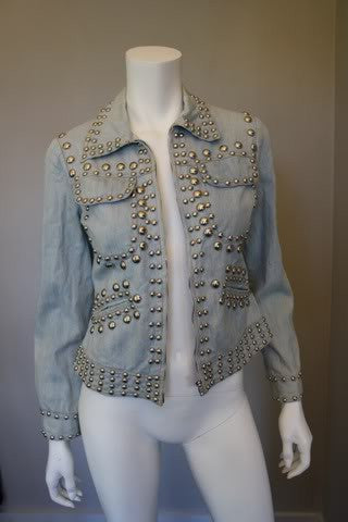 1980s Denim Jean Jacket with Silver Studs