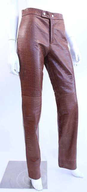 New Ralph Lauren Alligator Embossed Leather Pants