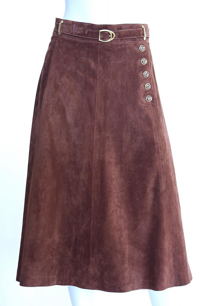 1970s GUCCI Burnt Sienna Suede Skirt with Equestrian Details