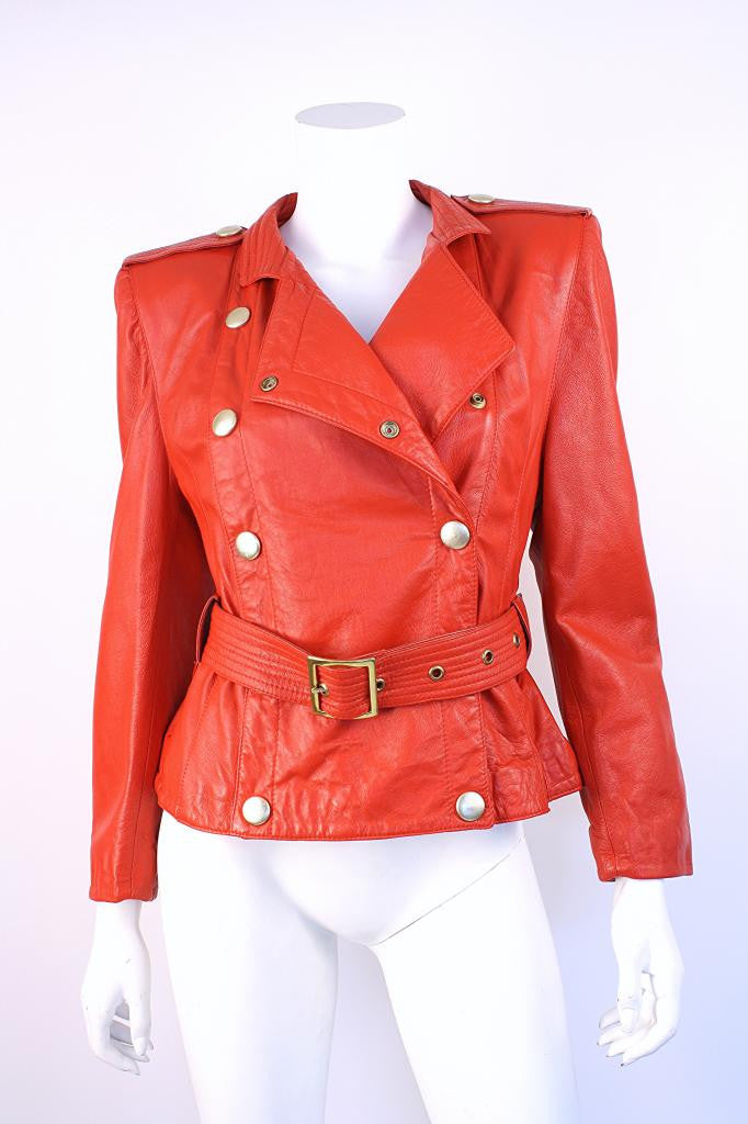 Vintage 80's Red Leather Motorcycle Jacket