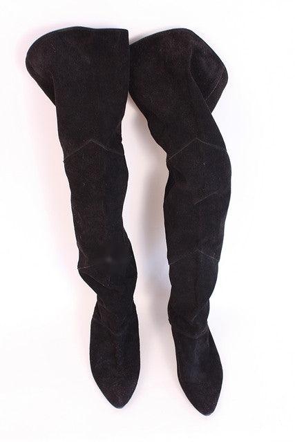 Vintage 80's Over The Knee Suede Boots