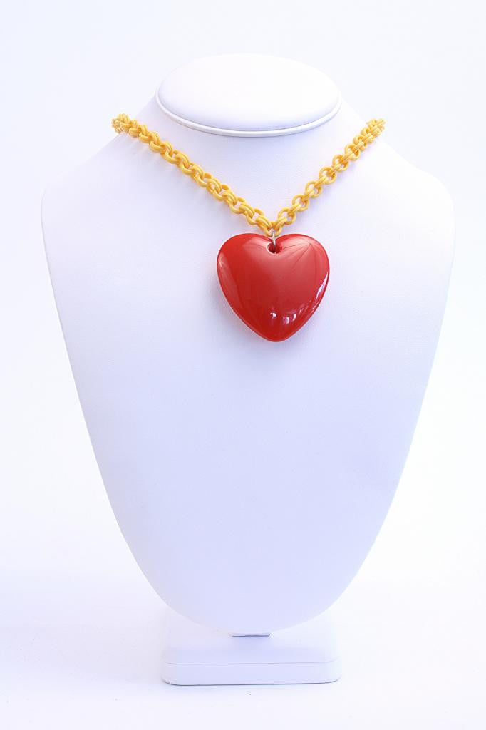 Vintage Celluloid Heart Necklace