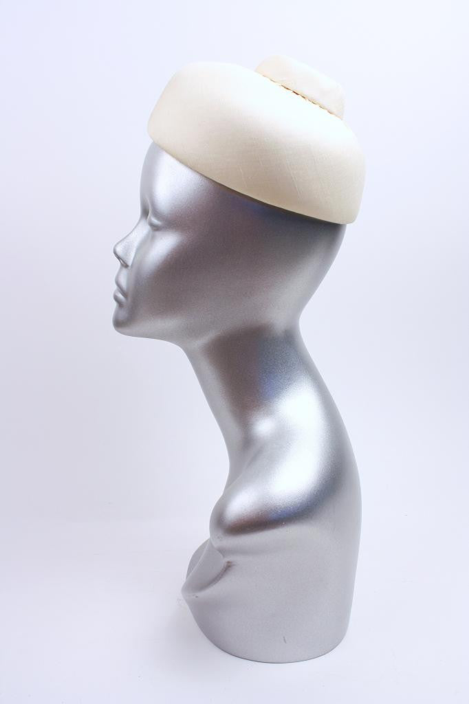 Vintage 60's White Pillbox Hat